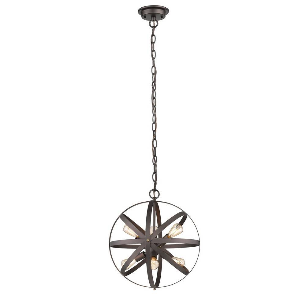 6-Light Industrial Oil Rubbed Bronze Cage Globe Chandelier