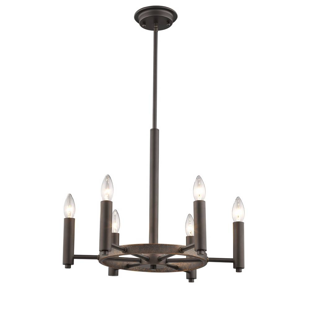 6-Light Industrial Oil Rubbed Bronze Exposed Bulb Chandelier