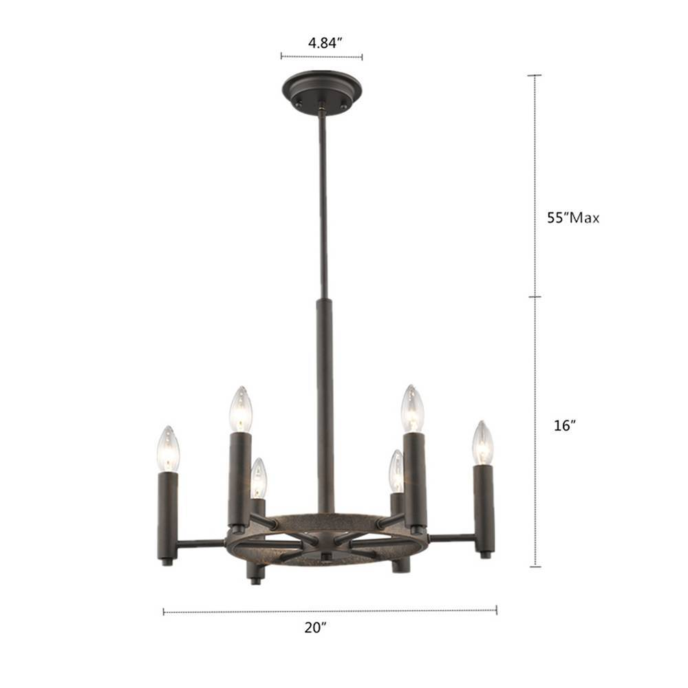6-Light Industrial Oil Rubbed Bronze Exposed Bulb Chandelier for Dining Room