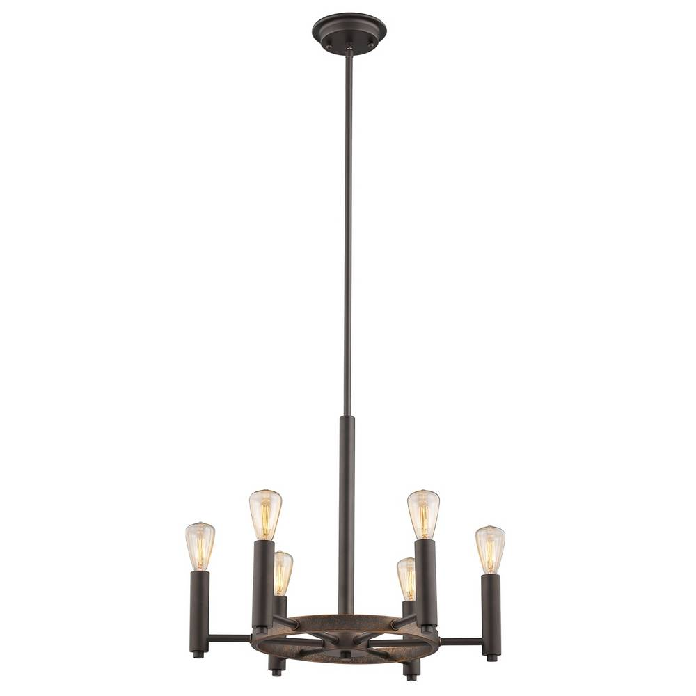 6-Light Industrial Oil Rubbed Bronze Exposed Bulb Pendant Light