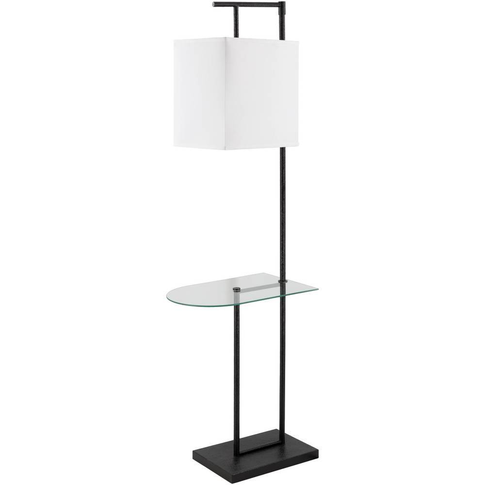 "60"" Modern Black Floor Lamp with Clear Glass Table"