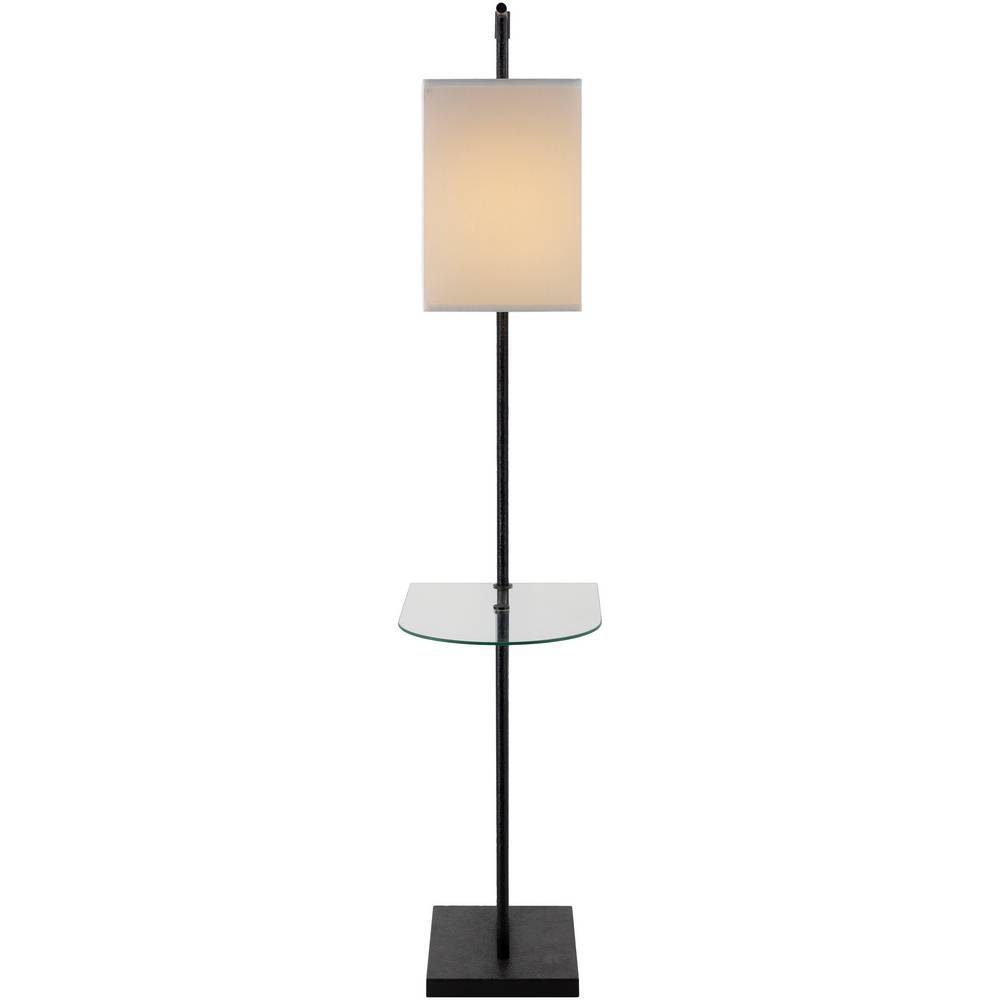 "60"" Modern Black Floor Lamp with Glass Table"