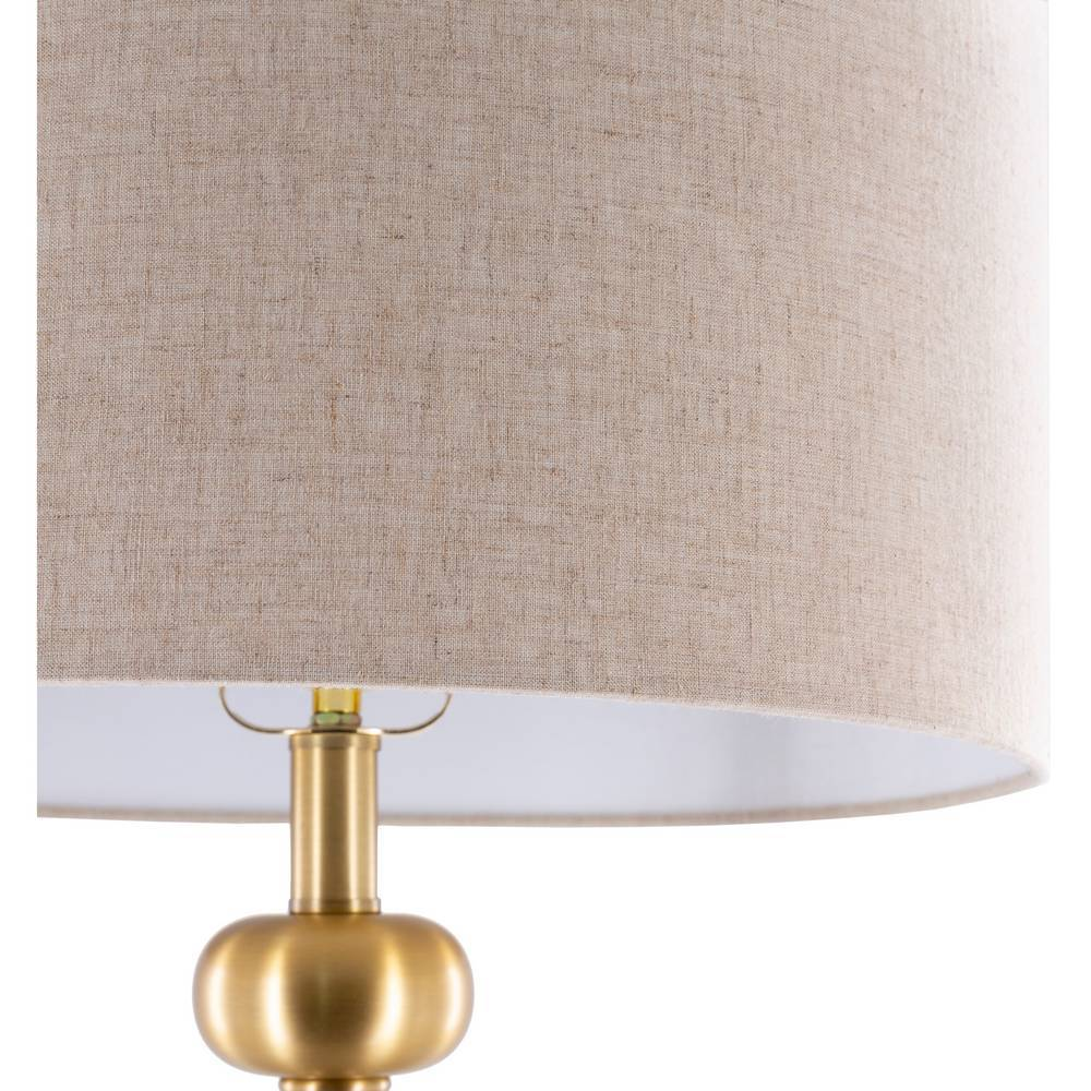 Brass Floor Lamp with Beige Drum Shade