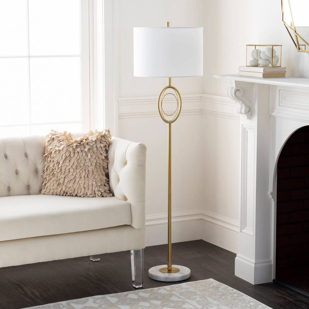 "60"" Modern Brushed Brass Floor Lamp with White Marble Base"