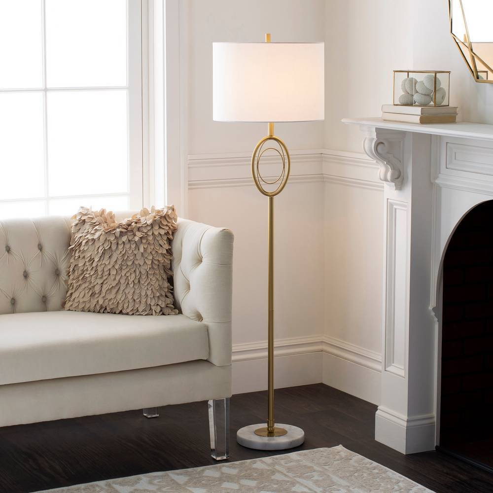 "60"" Modern Brass Floor Lamp with White Marble Base"