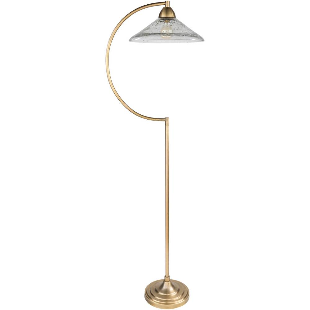 "63"" Mid-Century Modern Brass Floor Lamp with Hanging Glass Shade"