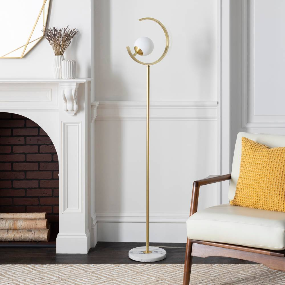 "64"" Mid-Century Gold Floor Lamp with White Glass Globe Shade"