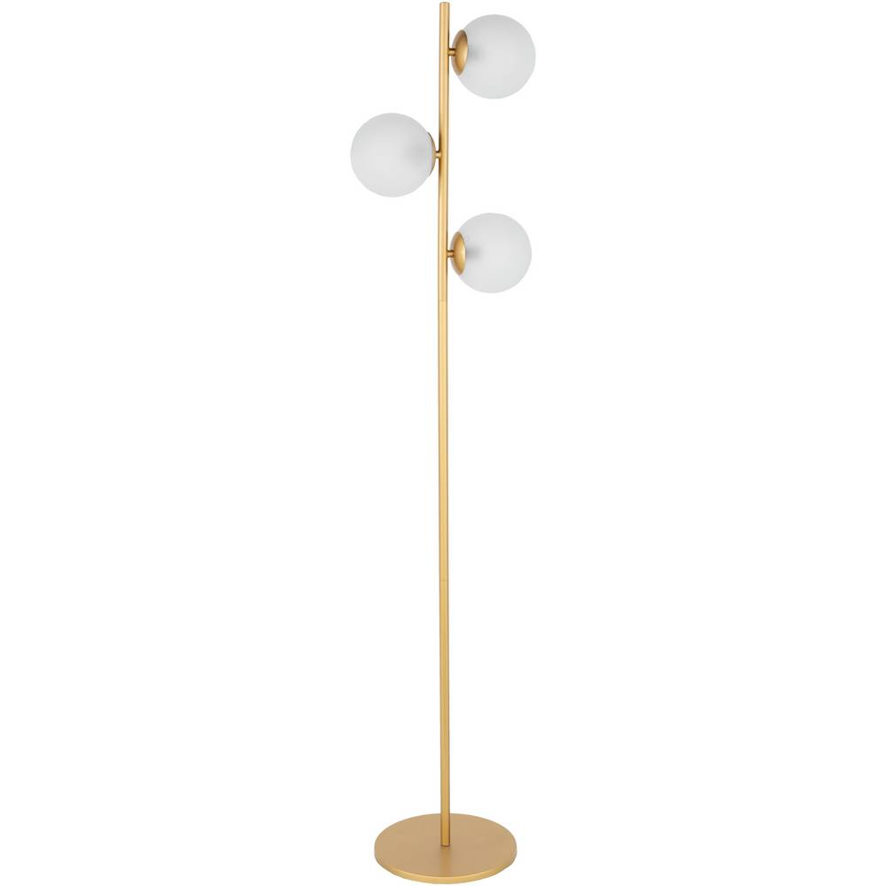 64 Inch Mid-Century Modern Gold Floor Lamp with Glass Globe Shades