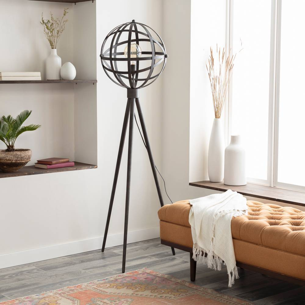 "66"" Modern Black Distressed Metal Cage Globe Floor Lamp"