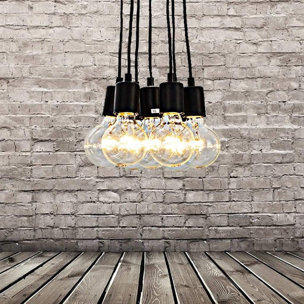 7-Light Cluster Industrial Hanging Bulbs Pendant