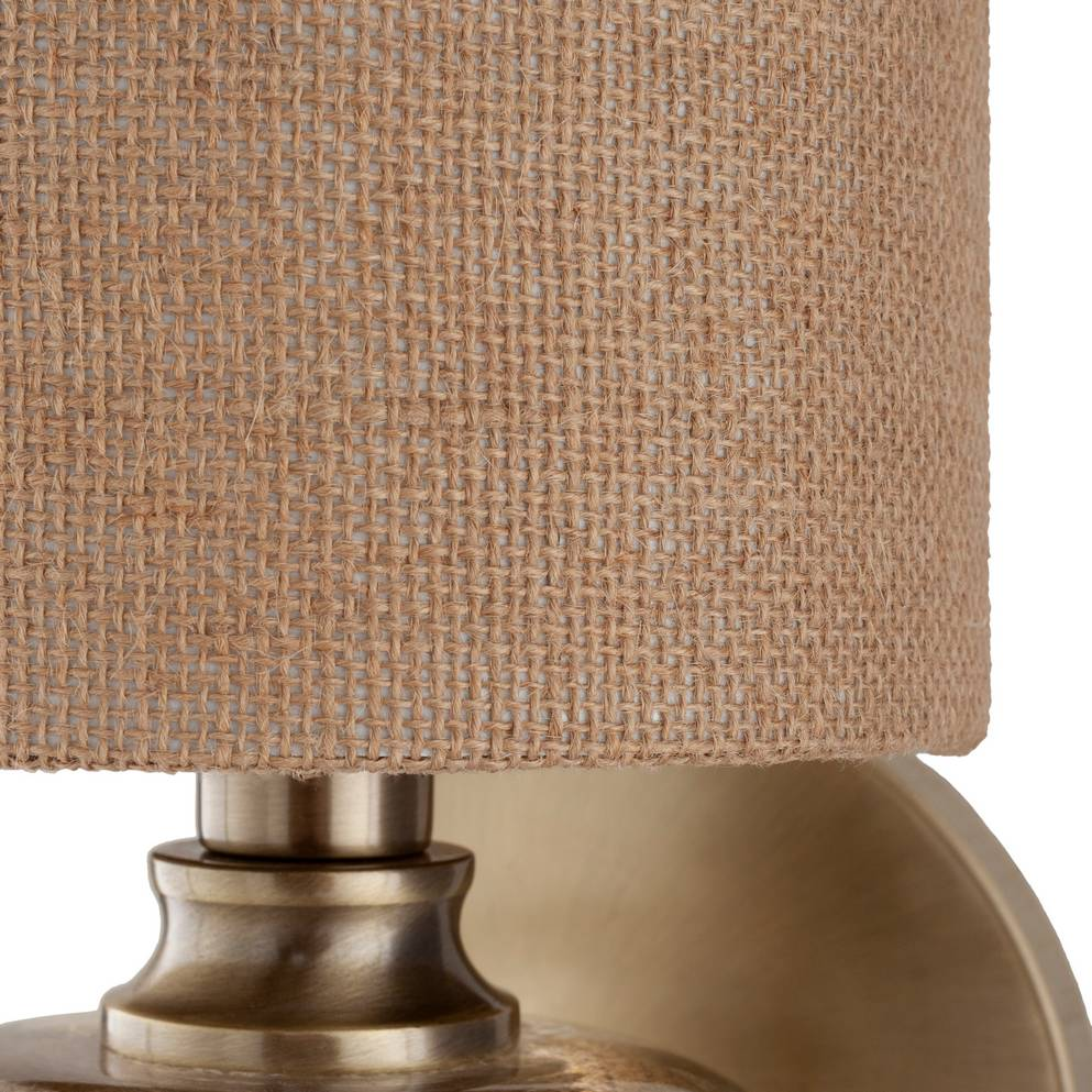 Antique Brass & Gold Brushed Glass Wall Sconce with Burlap Drum Shade