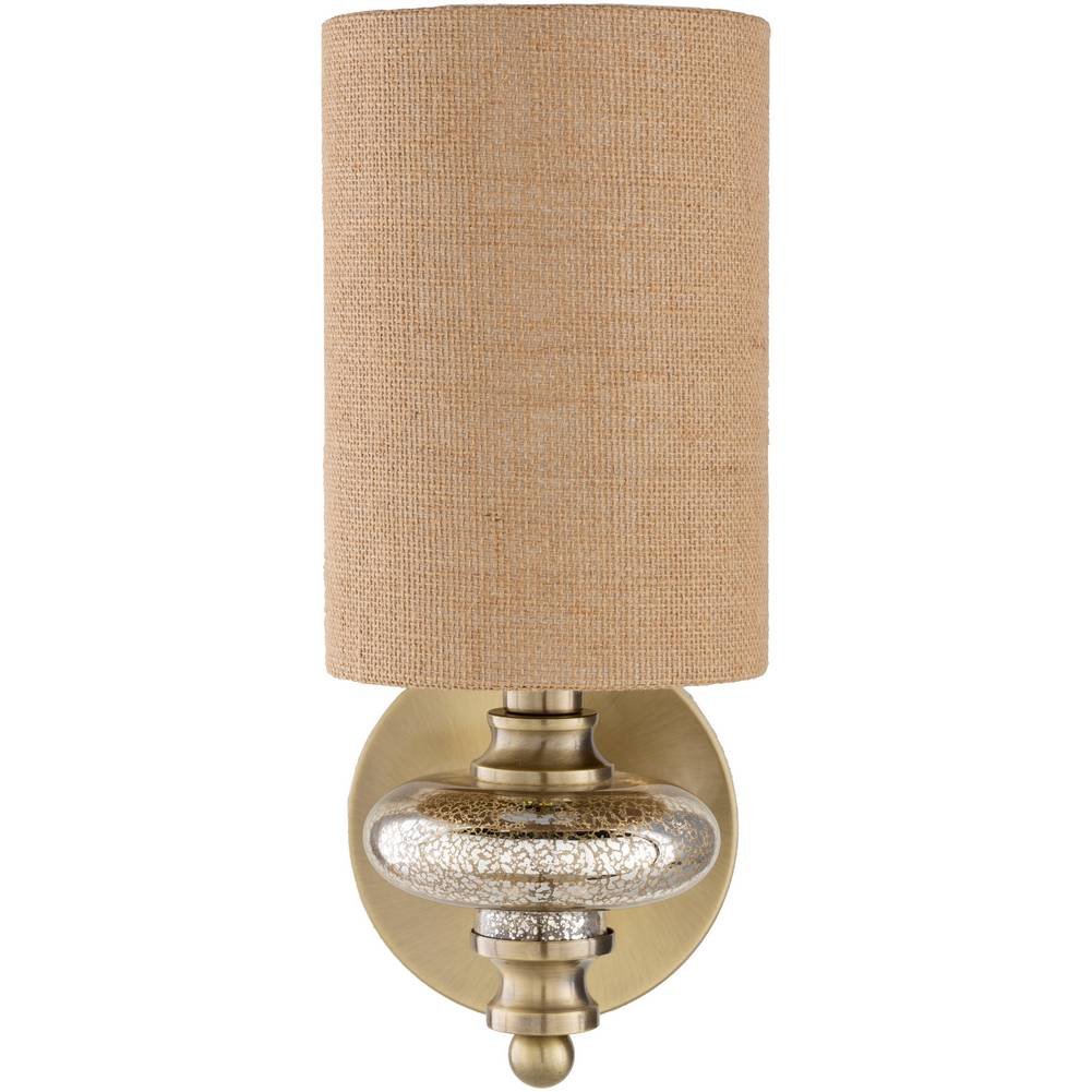 Antique Brass & Gold Brushed Glass Sconce with Brown Burlap Drum Shade