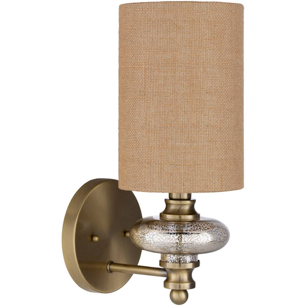 Vintage Brass and Gold Brushed Glass Wall Sconce with Brown Burlap Drum Shade