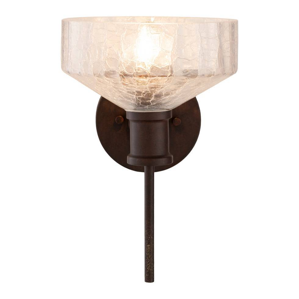 Vintage Dark Brown Clear Painted Glass Bowl Sconce