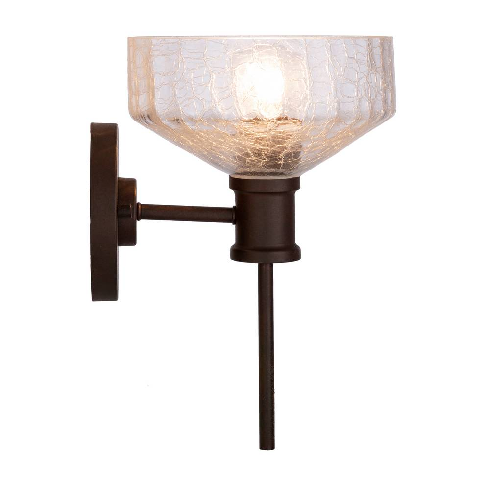 Vintage Dark Brown Clear Painted Glass Bowl Wall Light