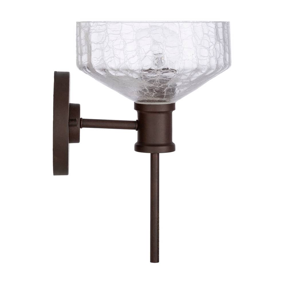 Antique Dark Brown Clear Painted Glass Bowl Wall Light