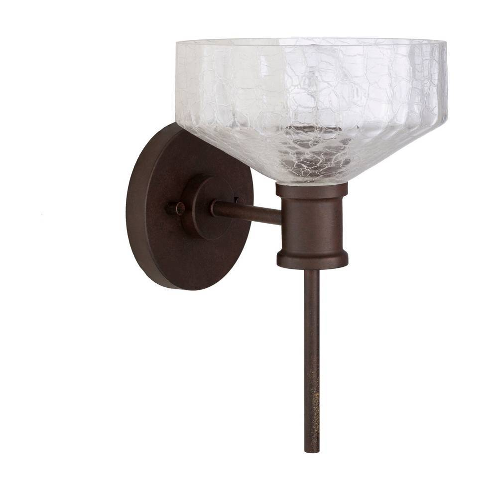Antique Dark Brown Clear Painted Glass Bowl Wall Sconce