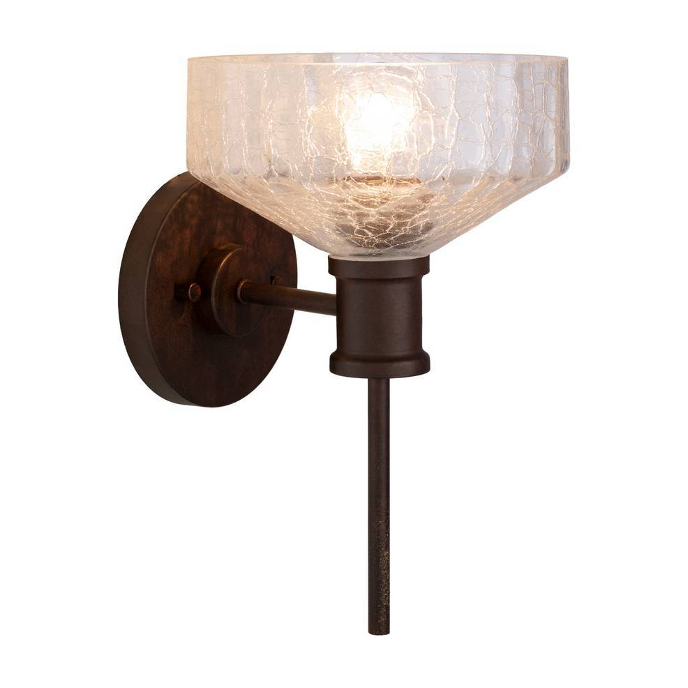Vintage Dark Brown Clear Painted Glass Bowl Wall Sconce