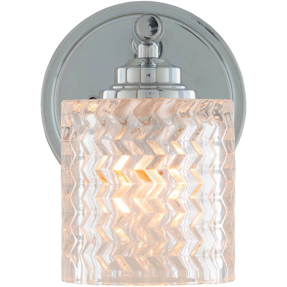 Vintage Nickel & Polished Textured Glass Drum Sconce