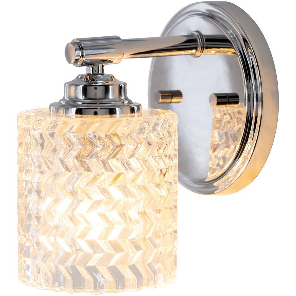 textured glass drum wall light