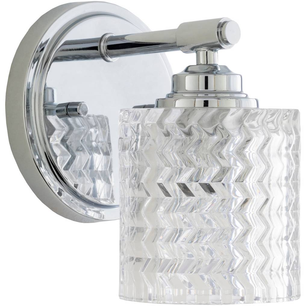 Antique Nickel & Polished Textured Glass Drum Wall Light