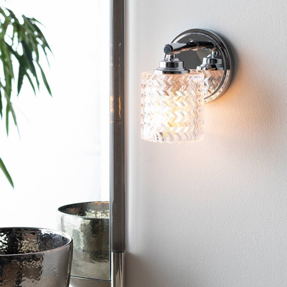 Vintage Nickel & Polished Textured Glass Drum Wall Sconce