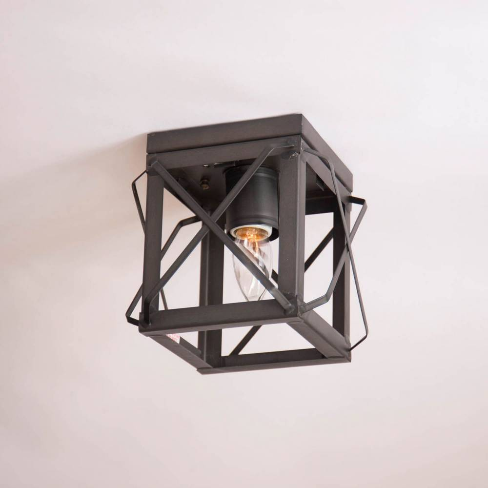 Black Industrial Farmhouse Flush Mount Square Cage Ceiling Light