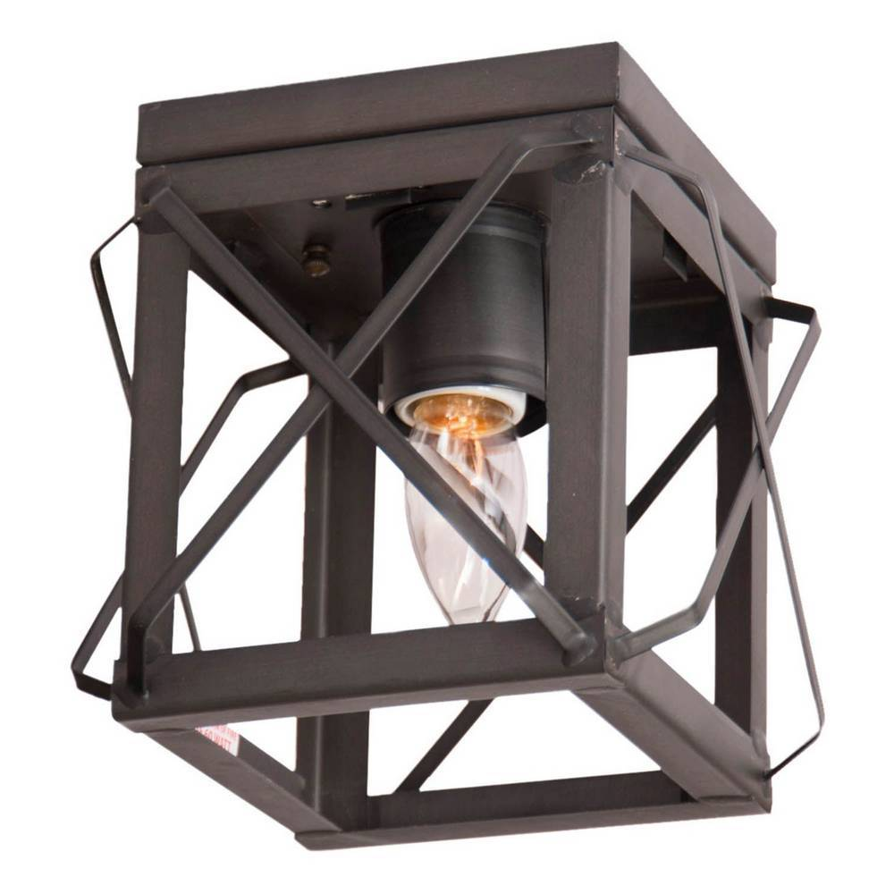 Industrial Black Farmhouse Flush Mount Square Cage Ceiling Light