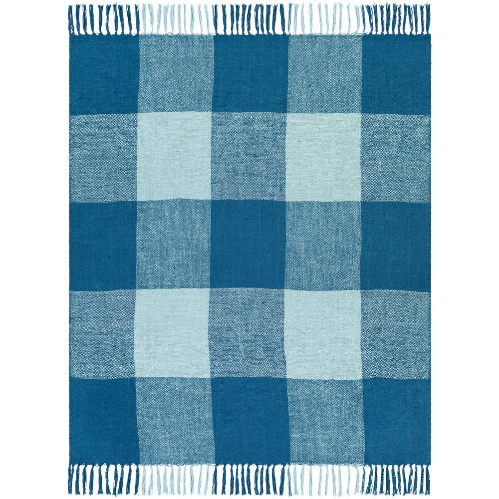 Aqua & Bright Blue Hand Woven Plaid Throw Blanket with Fringe