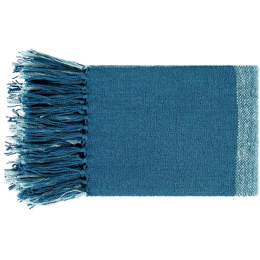 Bright Blue & Aqua Hand Woven Plaid Blanket with Fringe