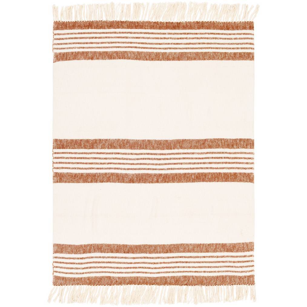 Cream White and Burnt Orange Hand Woven Striped Throw Blanket with Fringe