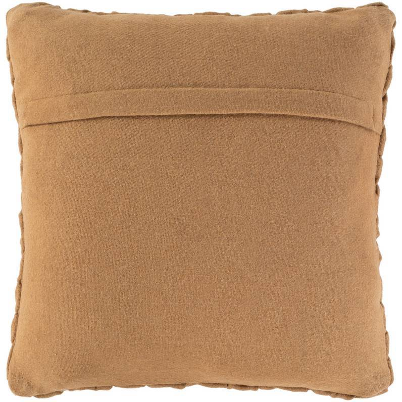 tan brown throw pillow with a knife edge felt back