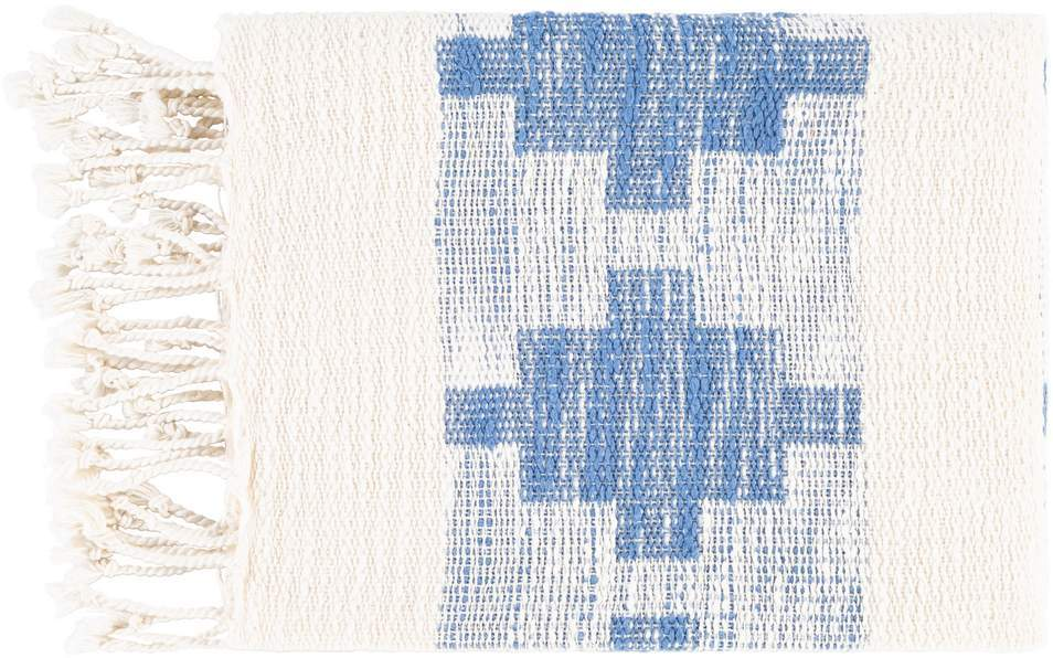Cream White and Sky Blue 100% Cotton Hand Woven Blanket with Fringe