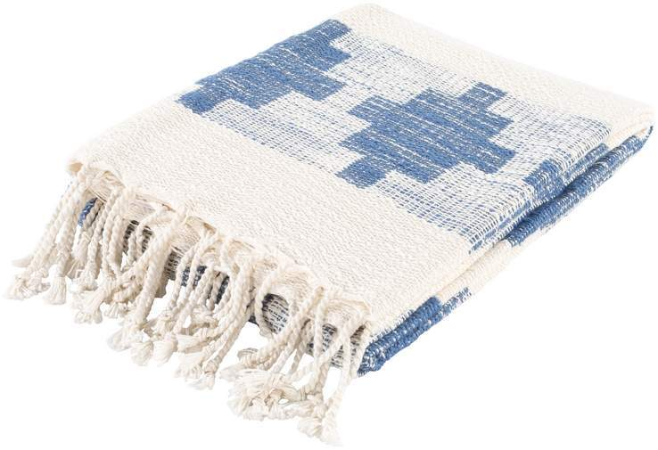 hand woven blue and white throw blanket with fringe