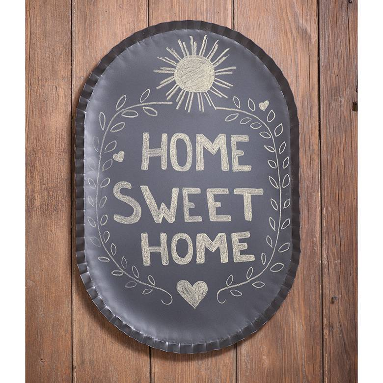 Decorative Black Farmhouse Crimped Tin Metal Oval Chalkboard