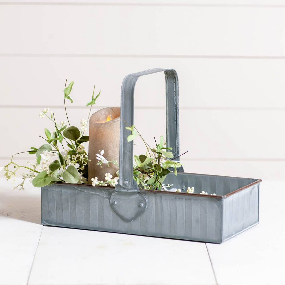 Decorative Vintage Farmhouse Weathered Metal Carrier