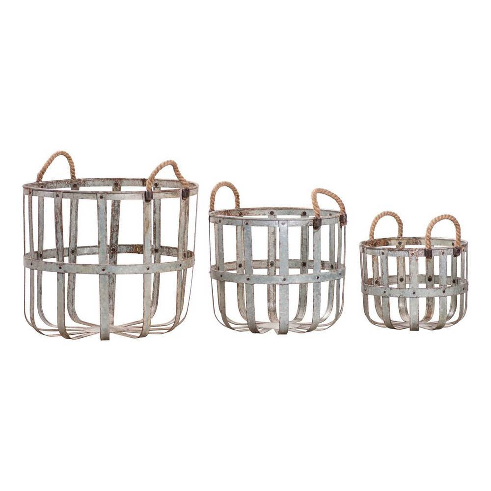 Weathered Rustic Farmhouse Metal Basket Set with Rope Handles