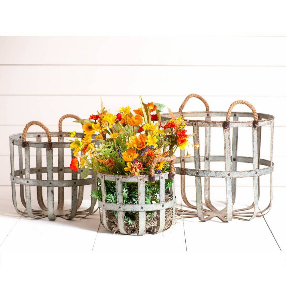 Distressed Rustic Farmhouse Metal Basket Set with Rope Handles