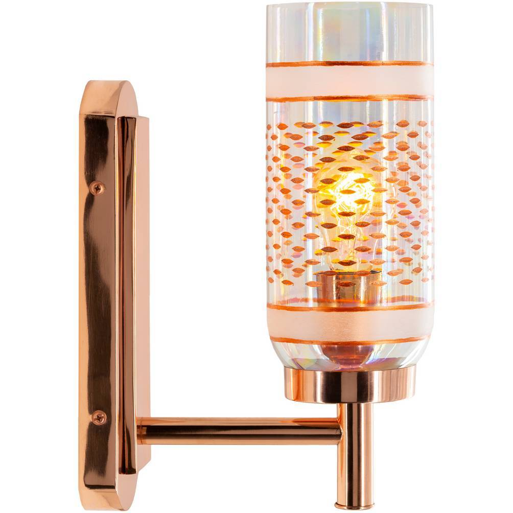 gold glass tube wall sconce