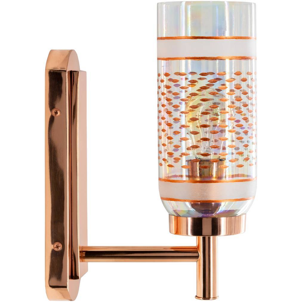 gold glass cylinder wall sconce