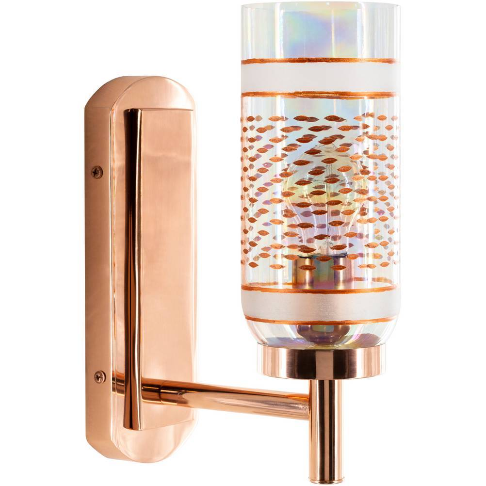 Gold Antiqued Glass Cylinder Wall Light