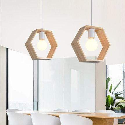 Hexagon / Without Bulb Geometric Design Wooden Hanging Lights