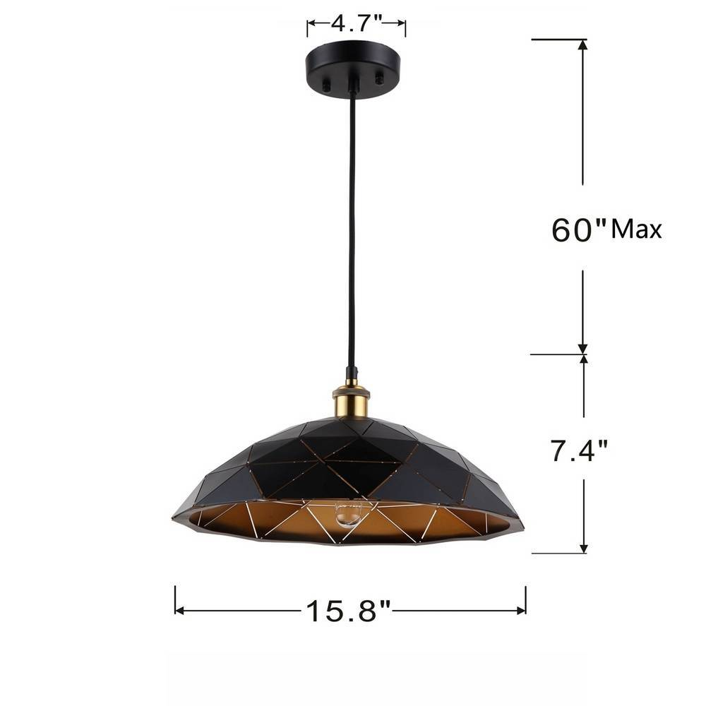 Industrial Farmhouse Black & Gold Geometric Cone Hanging Light