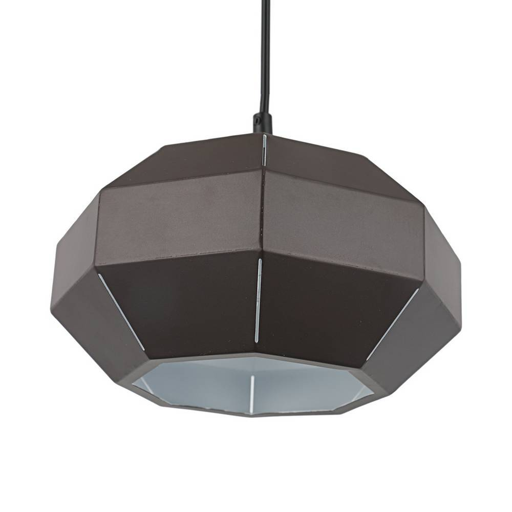 Industrial Modern Brown & White Geometric Dome Hanging Light