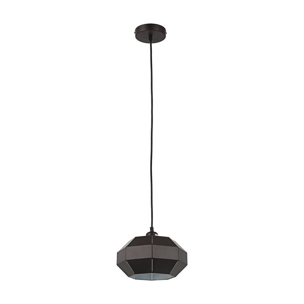Industrial Modern Brown & White Geometric Dome Pendant Light
