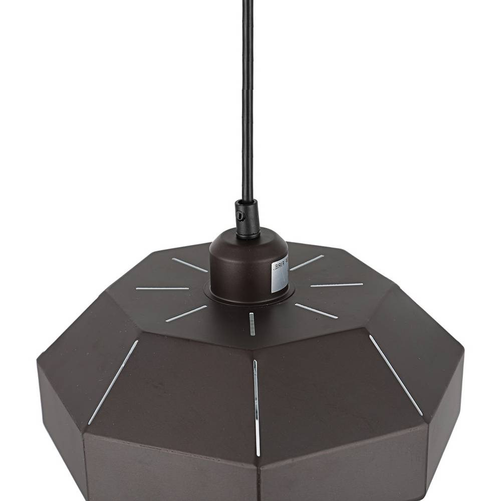 Industrial Contemporary Brown & White Geometric Dome Pendant Light