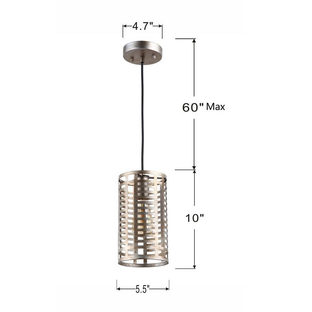 Industrial Modern Chrome Cage Cylinder Mini Hanging Light