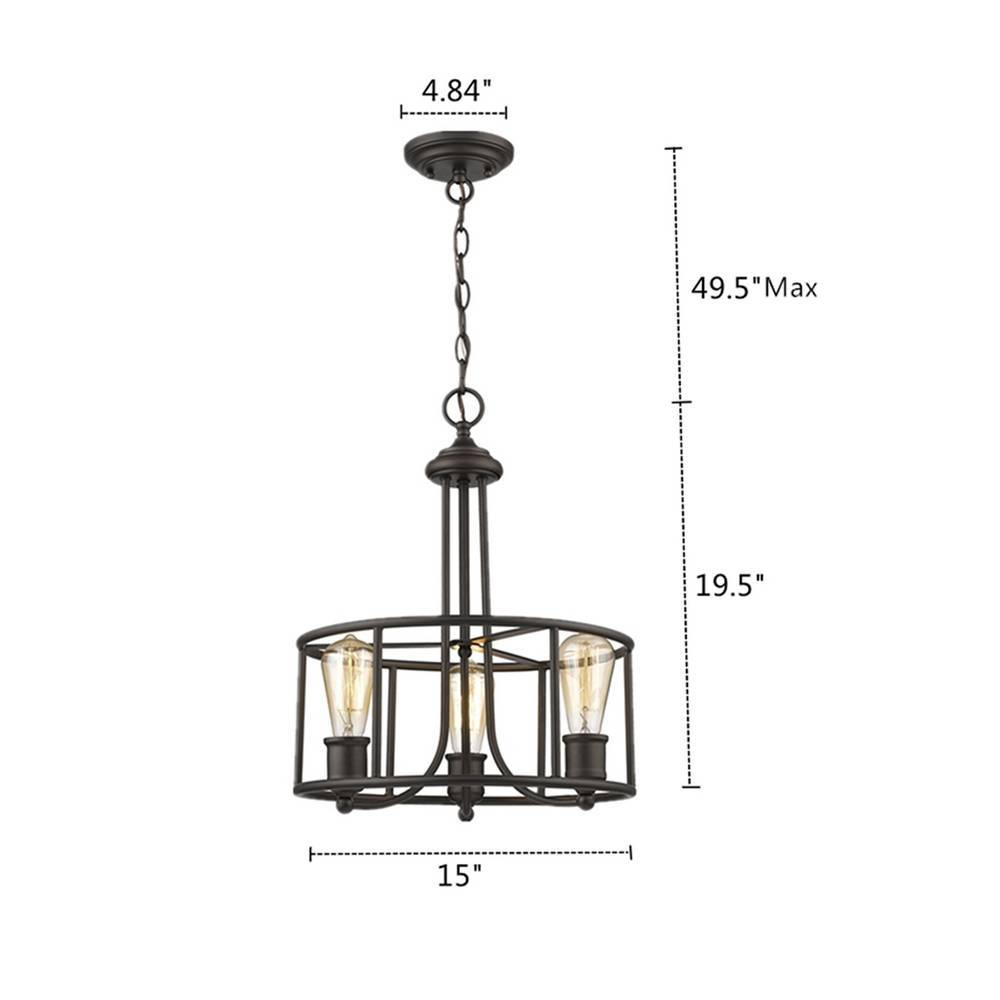 Industrial Oil Rubbed Bronze Cage Drum Chandelier for Dining Room