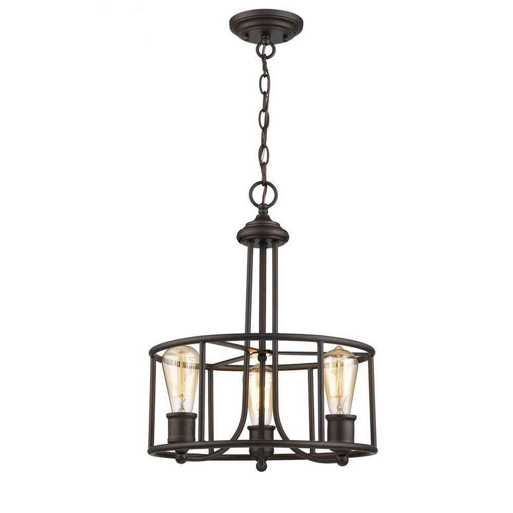 Industrial Oil Rubbed Bronze Cage Drum Chandelier