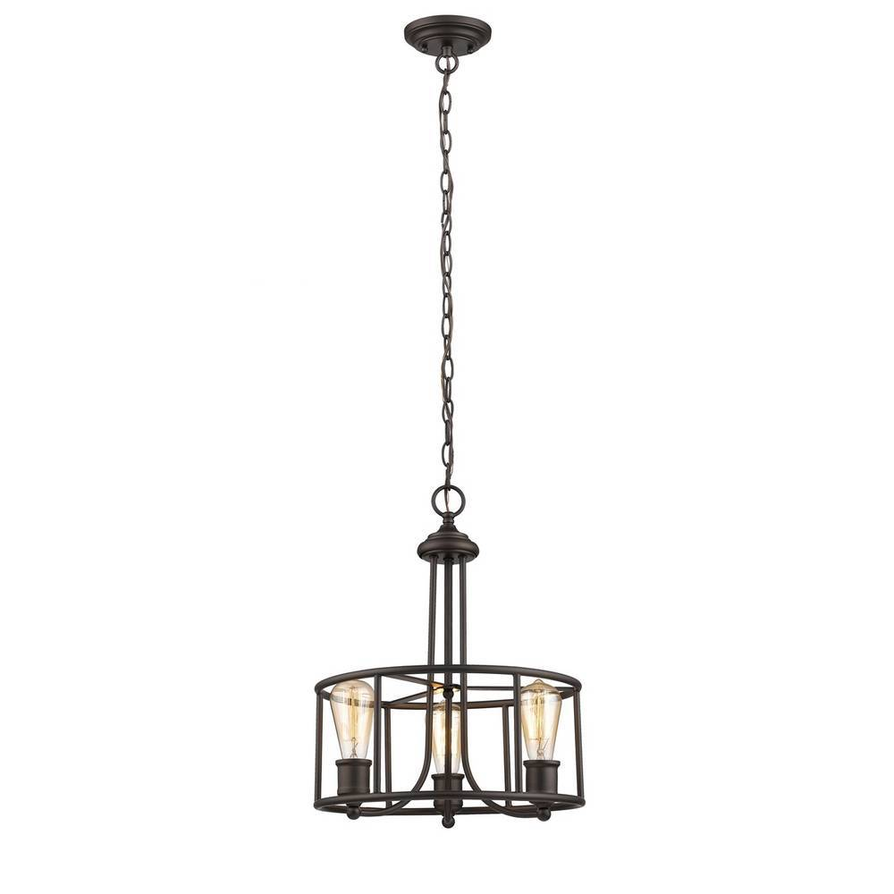 Industrial Oil Rubbed Bronze Cage Drum Pendant Light